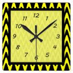 Black and Yellow Wavy Zigzag Square Wall Clocks