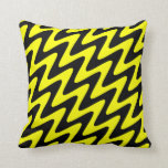 Black and Yellow Wavy Zigzag Throw Pillows