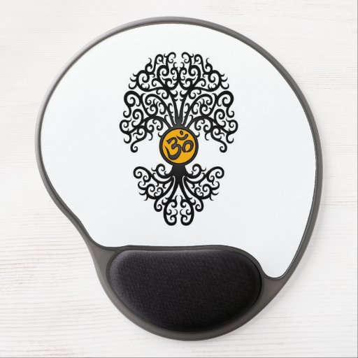 Black and Yellow Yoga Om Tree on White Gel Mousepad