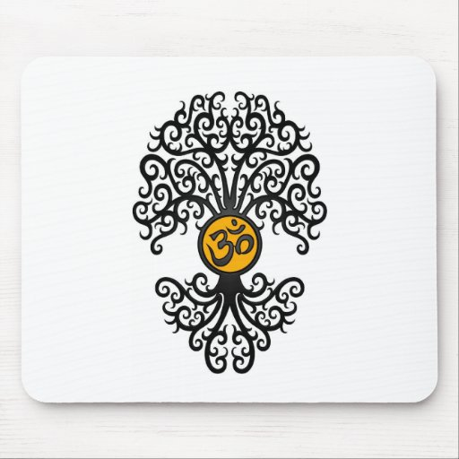 Black and Yellow Yoga Om Tree on White Mousepad