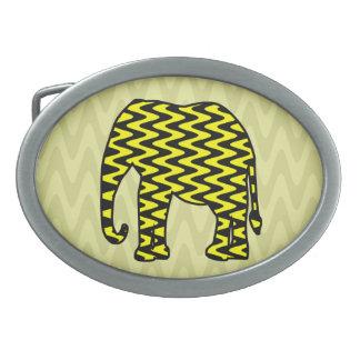 Black and Yellow Zigzag Elephant Belt Buckles