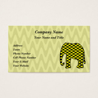 Black and Yellow Zigzag Elephant Business Card