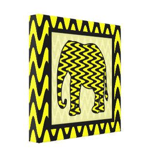 Black and Yellow Zigzag Elephant Canvas Print