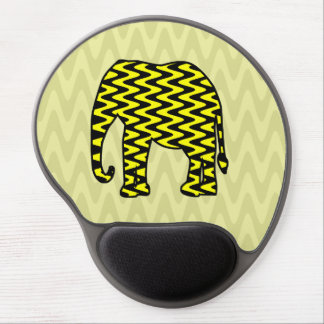 Black and Yellow Zigzag Elephant Gel Mouse Pad