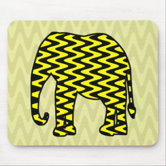 Black and Yellow Zigzag Elephant Mouse Pad