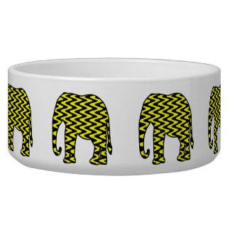 Black and Yellow Zigzag Elephant Dog Water Bowls