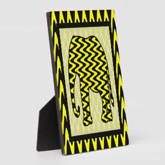 Black and Yellow Zigzag Elephant Plaque