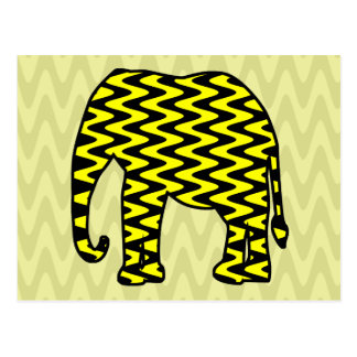 Black and Yellow Zigzag Elephant Postcard