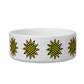Black and Yellow Zigzag Flower Pet Water Bowl