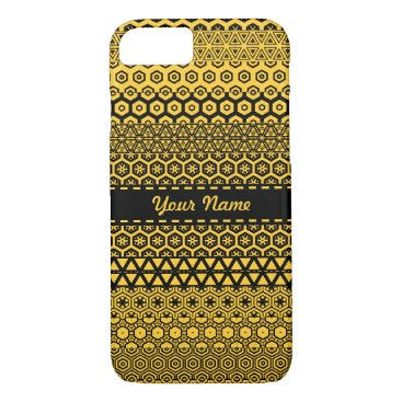 Aztec Themed Black and yellowish decorative pattern iPhone 7 case