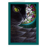 BLACK ANGEL CAT - STAINED GLASS WINDOW 4 Card