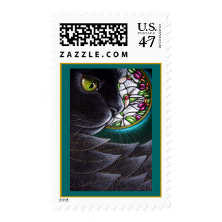 BLACK ANGEL CAT - STAINED GLASS WINDOW 4 Postage
