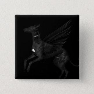 Black Angel Greyhound Button