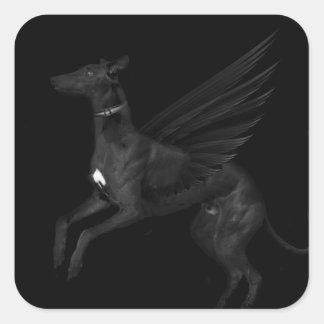Black Angel Greyhound Square Sticker