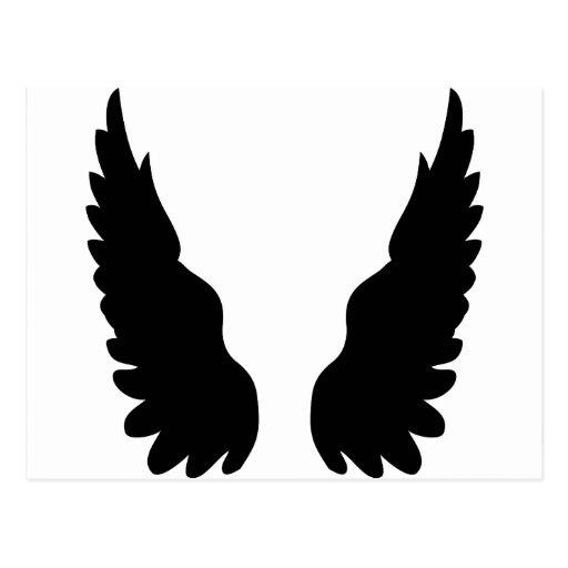 black angel wings postcard | Zazzle