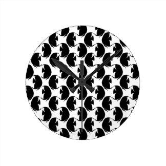 Black Angelfish Round Clock