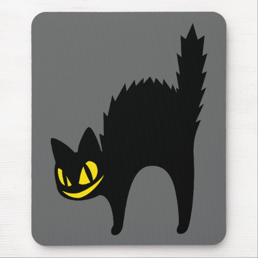 Black Angry Cat Mouse Pad
