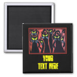 Black Angry Cats 2 Inch Square Magnet