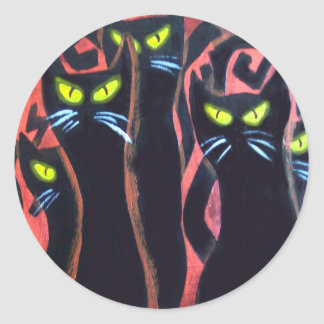 Black Angry Cats Classic Round Sticker