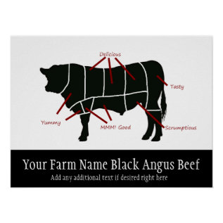 Black Angus Beef Farm Funny Butcher Cuts Poster at Zazzle