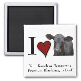 Black Angus Beef  - I love heart design 2 Inch Square Magnet