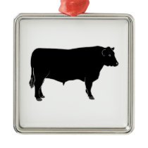Black Angus Bull Metal Ornament