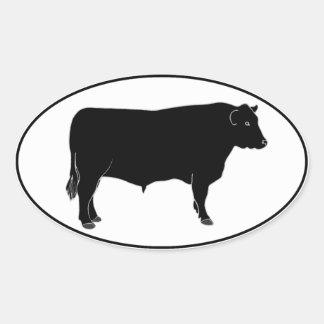 Black Angus Bull Oval Sticker