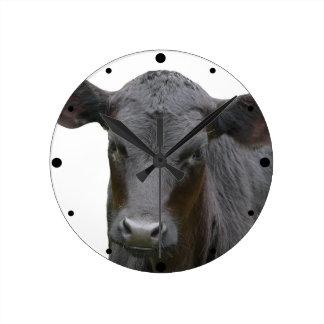 Black Angus Calf Animal Photograph Round Wallclock
