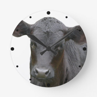 Black Angus Calf Animal Photograph Round Clocks