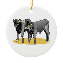 Black Angus Calves Ceramic Ornament