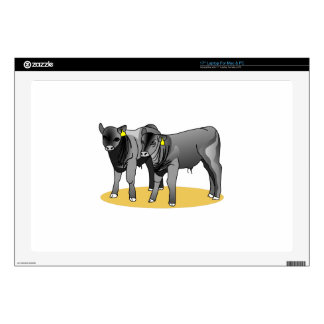 """Black Angus Calves Decals For 17"""" Laptops"""
