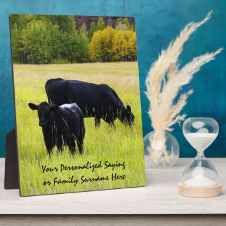 Black Angus Cattle Grazing in Yellow Grass Field Plaque