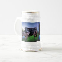 Black Angus Cow and Calf Beer Stein