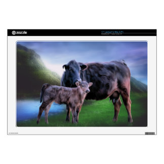 Black Angus Cow and Calf Laptop Skins