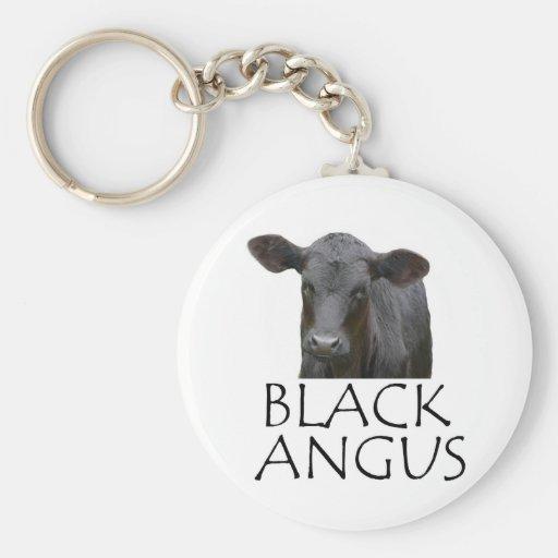 Black Angus Cow Basic Round Button Keychain