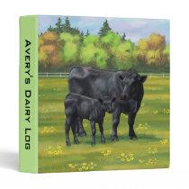 Black Angus Cow & Cute Calf in Summer Pasture 3 Ring Binder