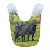Black Angus Cow & Cute Calf in Summer Pasture Baby Bib