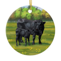 Black Angus Cow & Cute Calf in Summer Pasture Ceramic Ornament