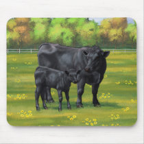 Black Angus Cow & Cute Calf in Summer Pasture Mouse Pad