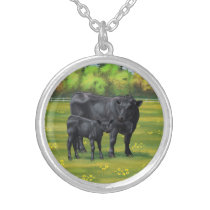 Black Angus Cow & Cute Calf in Summer Pasture Silver Plated Necklace