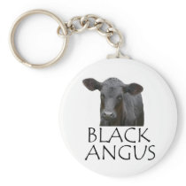 Black Angus Cow Keychain
