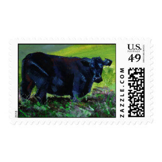 Black Angus Cow painting postage stamps