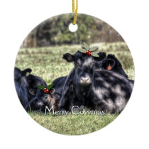 Black Angus Cows Christmas Ornaments