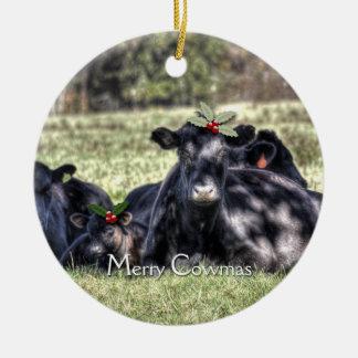 Black Angus Cows Christmas Ornaments