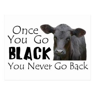 Black Angus Funny Cow Photo Postcard