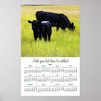 Black Angus in Yellow Grass 2011 wall  calendar Poster