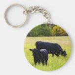 Black Angus Pair in Field Basic Round Button Keychain