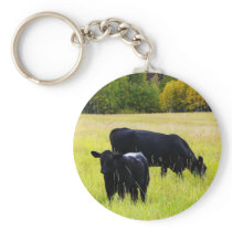 Black Angus Pair in Field Keychain