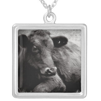 Black Angus Portrait Photo Square Pendant Necklace