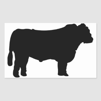 Black Angus Silhouette Rectangular Sticker